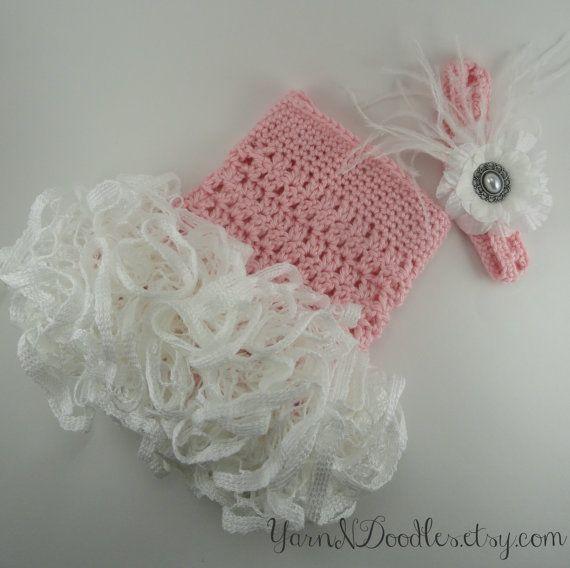 Baby Girl Crocheted Ruffle Romper Headband Set By