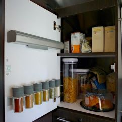 Corner Upper Kitchen Cabinet Booster Seat Pantry With Ikea Spice Rack & Foil Dispenser ...