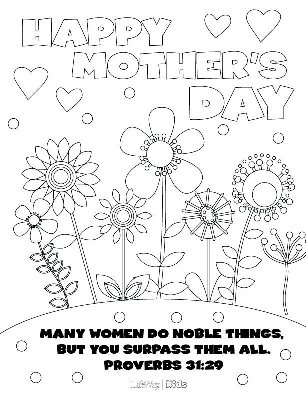 Print out this Mother's Day Coloring page for your