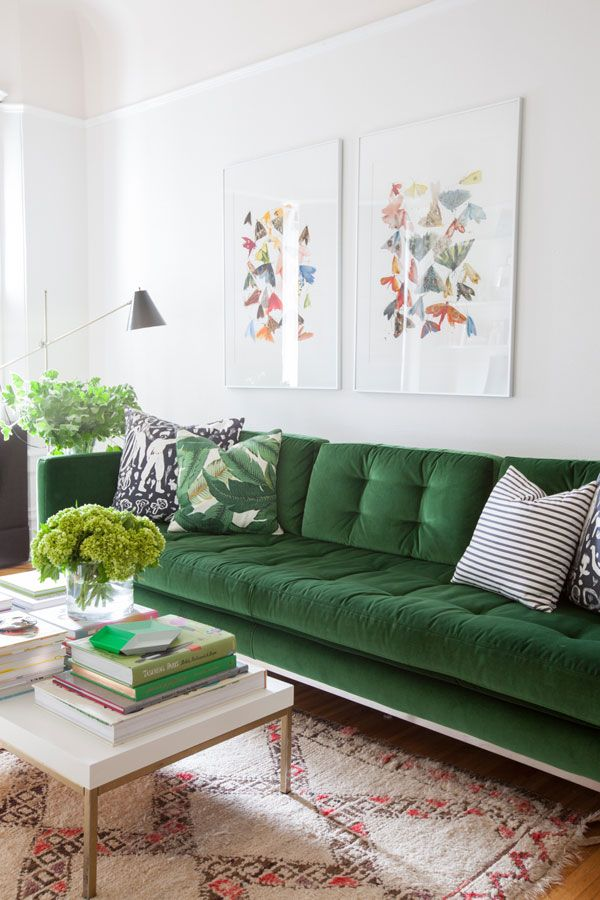 Living Room Makeover Oh Happy Day Green Velvet Sofa Living Rooms Pinterest Colorful