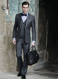 Charcoal 3 pieces suit and bow tie