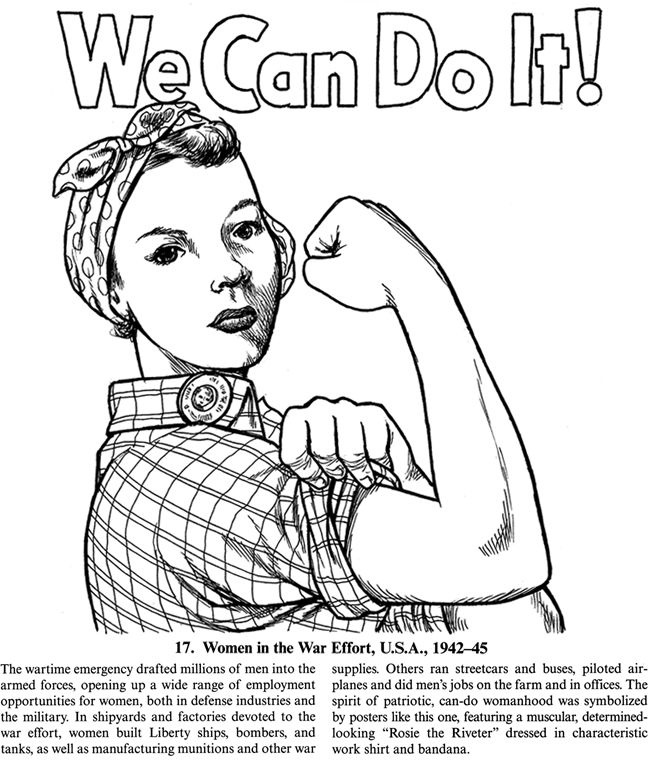 colouring page rosie the riveter feminism embroidery