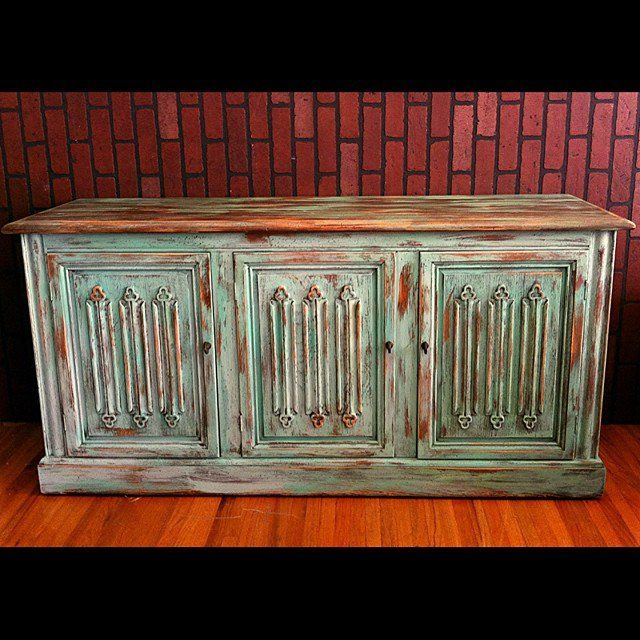 Turquoise blue multi color painted and distressed rustic