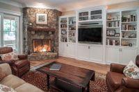 Corner fireplace with built-ins | Wood burner | Pinterest ...