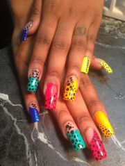 long square nails withpokadot design