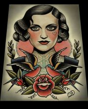 traditional woman portrait tattoo