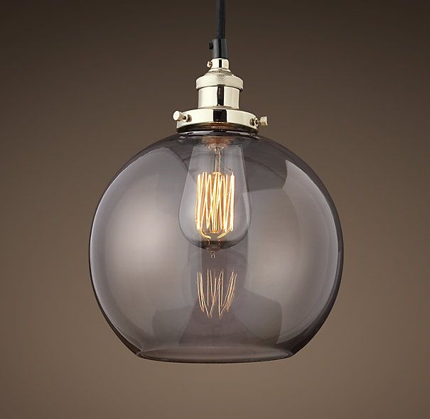 20th C. Factory Filament Smoke Glass Caf Pendant
