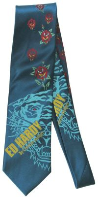 Ed Hardy Tattoo Art Roses Red Eye Dragon Necktie Neck Tie ...