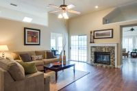 Furniture layout for off-center fireplace, family room ...