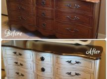 Before and after on a Bassett French Provincial dresser ...