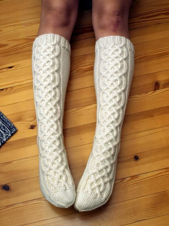 Celtic cable knee-high socks — last year I made socks just like these for my sister. Using the Magic Loop technique it was fairly