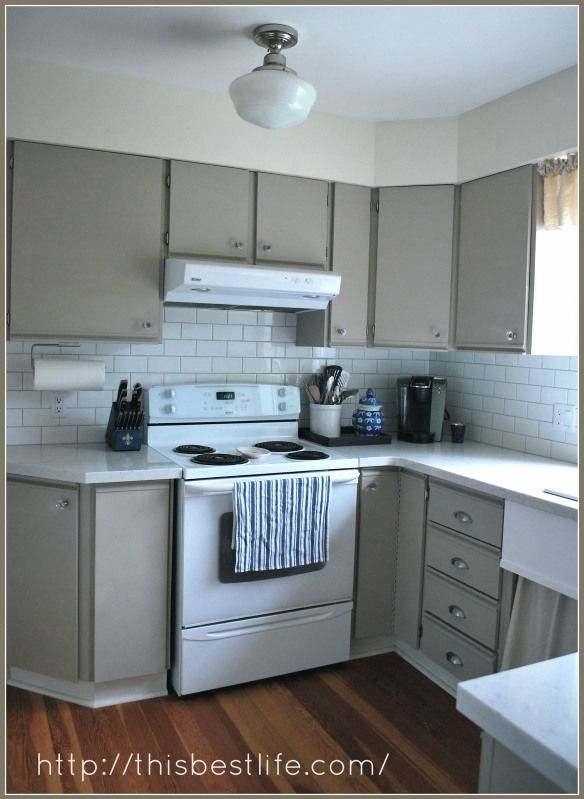 Kitchen makeover redo over 80s melamine and oak trim cabinetschalk paint redo So happy with