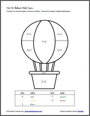 Maths sums, Hot air balloon and Air balloon on Pinterest