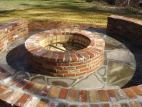 Brick firepit with brick seating... Since I'm gonna have ...