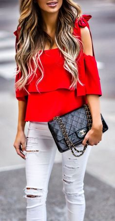 Image result for red blouse white jeans