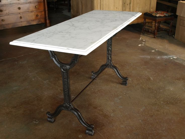 French Bistro Console Table with Cast Iron Base and Marble