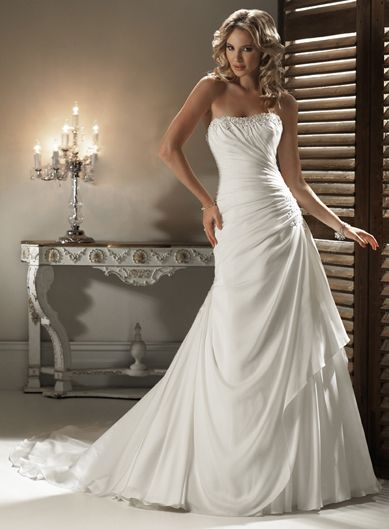 A-line Strapless Chapel Train Charming Chiffon with beading wedding dress,angelo