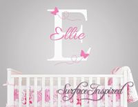 Nursery Wall Decals. Ellie with flying butterfles name ...