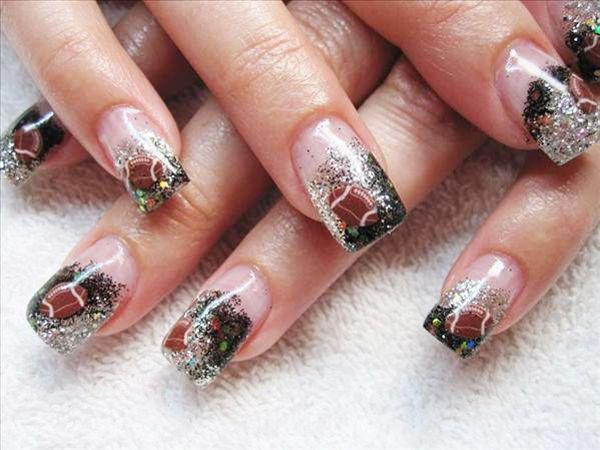 girly football nail design