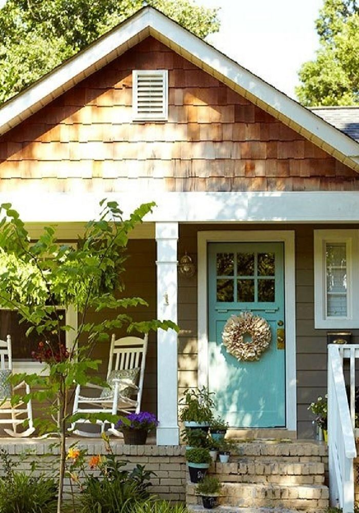 Taupe Off White  Natural Wood shingles with Aqua Blue