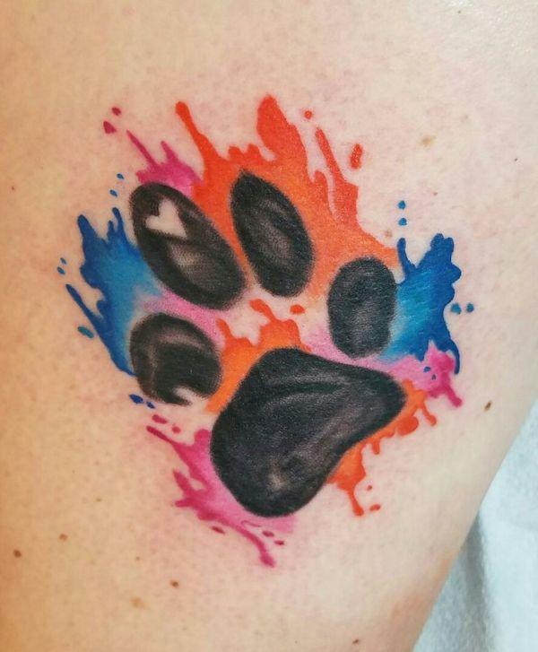 Watercolor Cat Paw Print Tattoo