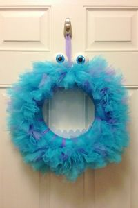 Monsters, Inc Sully Wreath- Tulle, Styrofoam eyes, and ...
