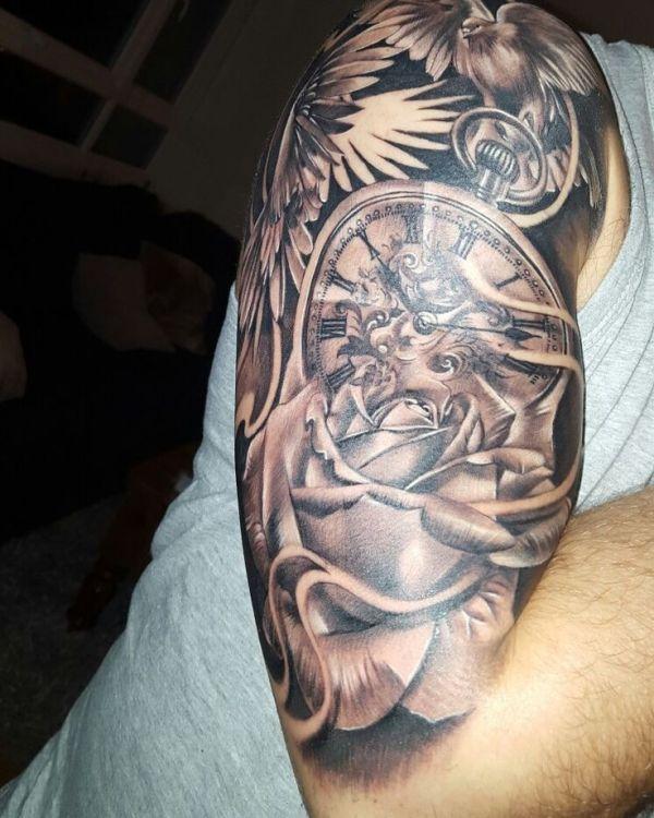 20 Clock Skull Roses Tattoos Doves Ideas And Designs