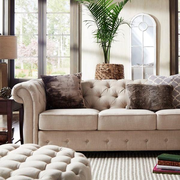 Knightsbridge Beige Fabric Button Tufted Chesterfield Sofa