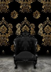 Black Baroque Chair and Black velvet and gold damask ...