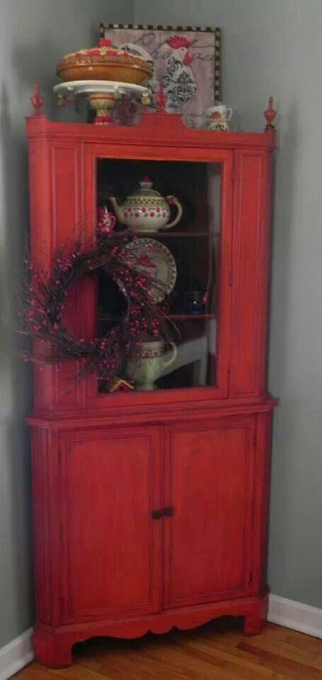Vintage Red Corner Hutch 225  Geckos Hyde  Pinterest