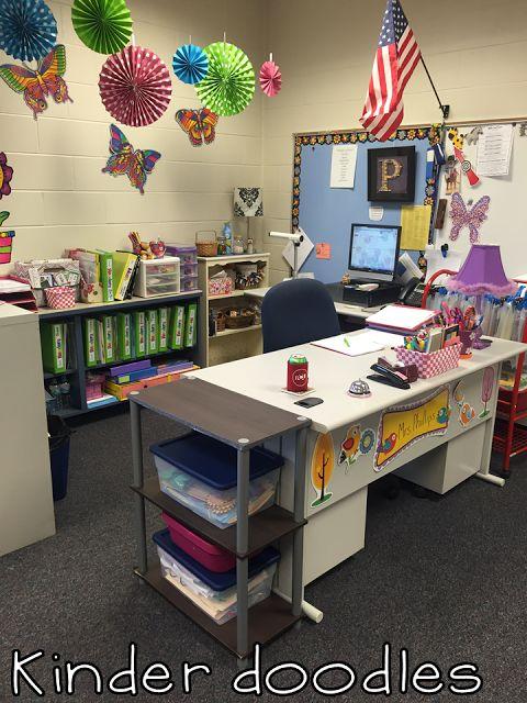 Teacher desk area kinder doodles  Classroom