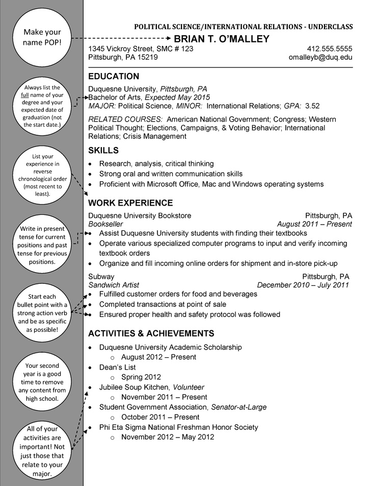 Political Science  International Relations Underclass  Duquesne Resume  Cover Letter Examples