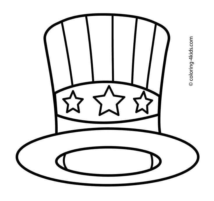 USA hat coloring pages, USA independence day coloring