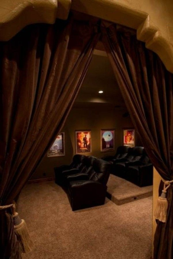 curtains to sheild light from rest of room….step up for second row seating…cool basement ideas home theater 600×899 Impressive