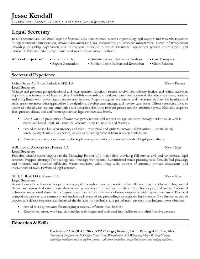 legal resumes  Legal Secretary Resume Sample  Law  Pinterest  Resume Secretary and Sample