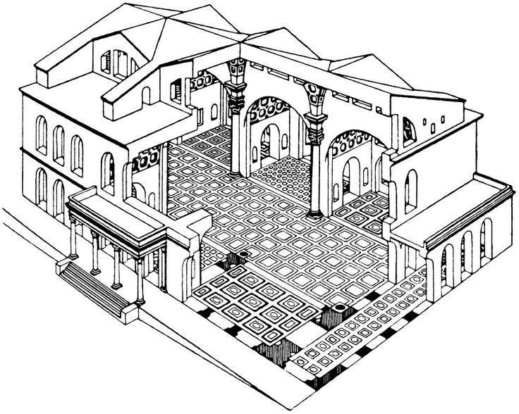 Reconstructietekening van de Basilica van Maxentius in