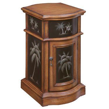 Kellsie Palm Tree Storage Accent Cabinet