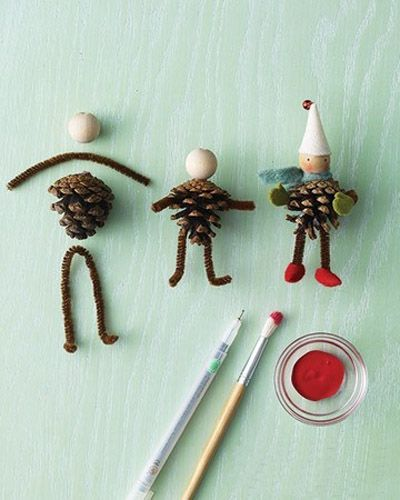 Pipe cleaners, pinecones, and simple wooden beads can be combined to create tiny people or animals. Great for making puppets,
