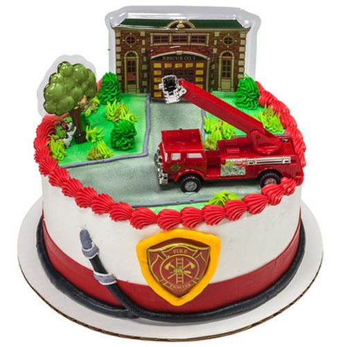 Fire Truck And Station Cake Decorating Kit Topper
