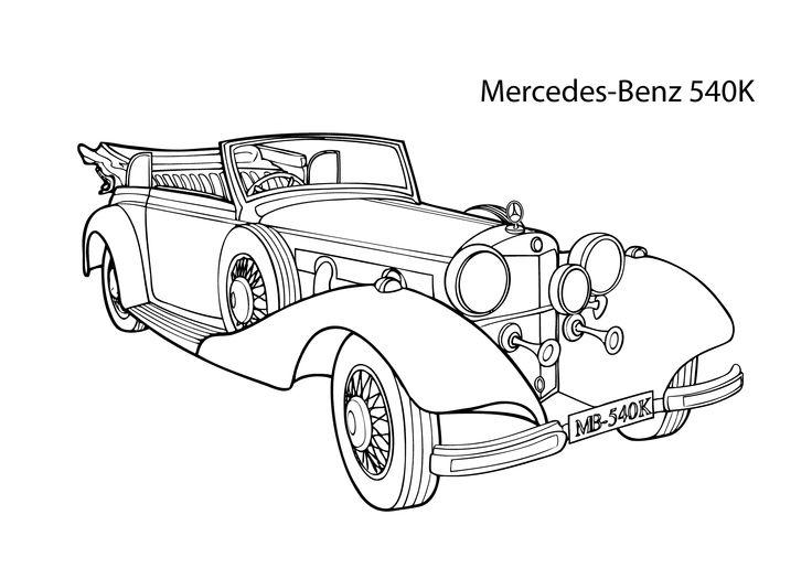 Super car Mercedes Benz 540K coloring page, cool car