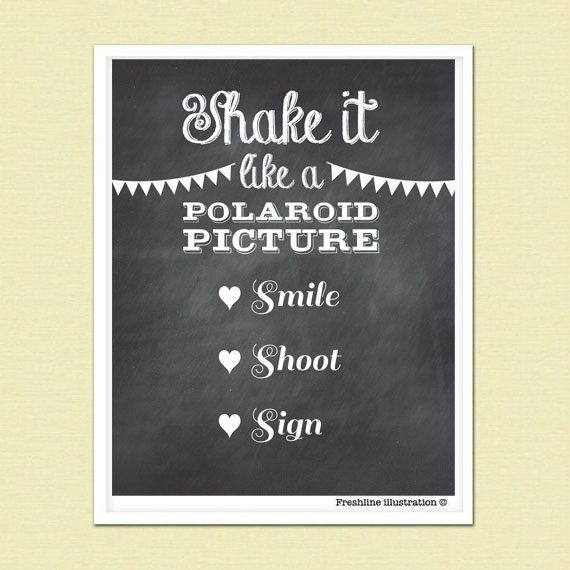 GUEST BOOK SIGN Wedding Photobooth Poster Shake It Like A