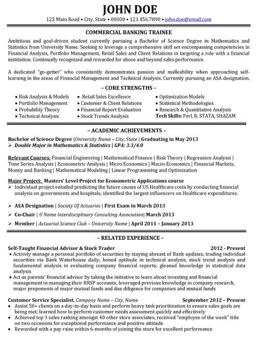 Banker Resume Examples - Examples of Resumes
