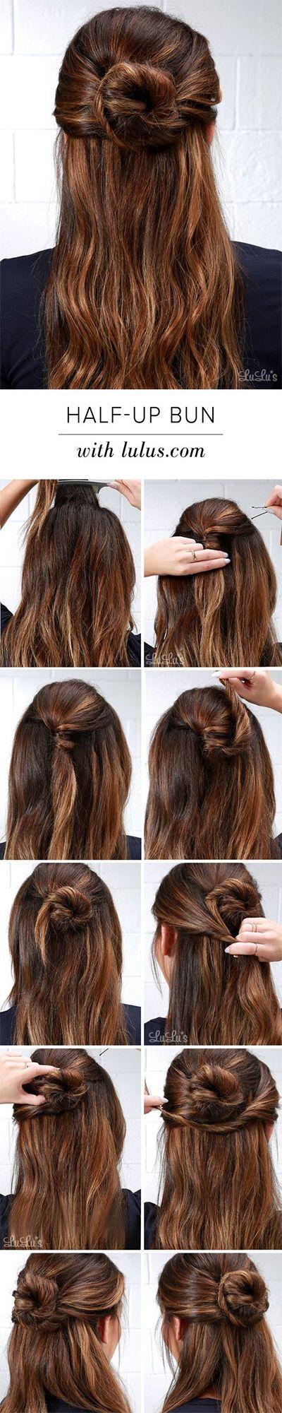 25 Best Ideas About Half Up Bun On Pinterest Half Up Hairstyles