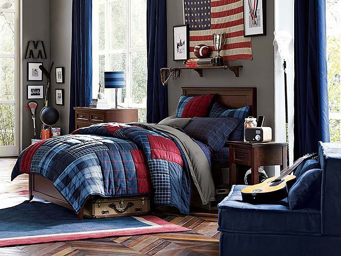 I love the PBteen Hampton Plaid Bedroom on pbteencom Dark Gray Wall with navy and Red accents
