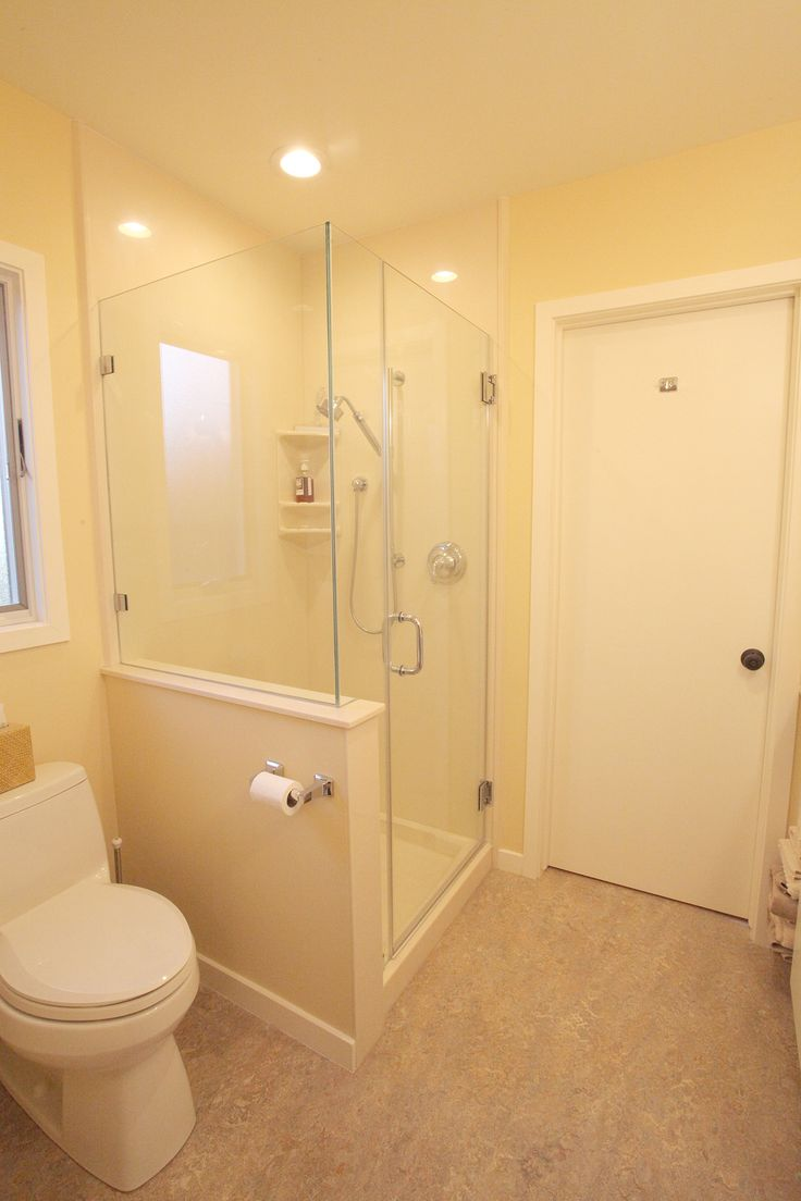 Marmoleum Flooring Cultured Marble Shower Insert with Custom Fit Frameless Shower Enclosure and