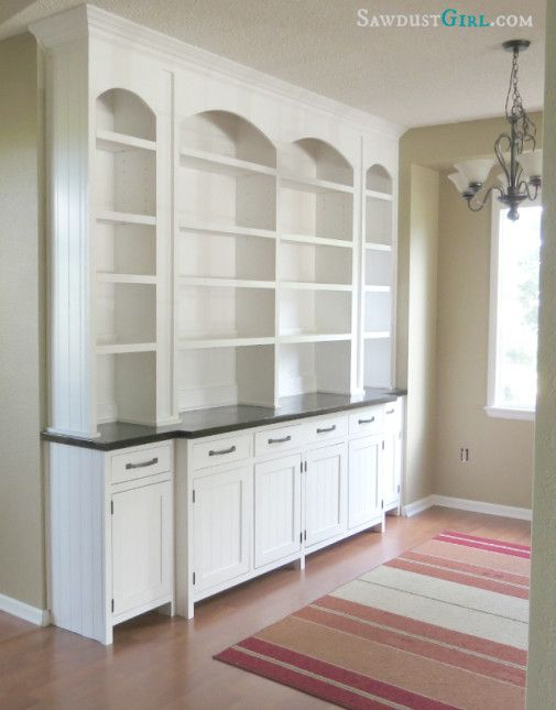 DIY Dining room built-in buffet. This blogger is one of the most AMAZING carpenters I have ever met. You should see the closet she