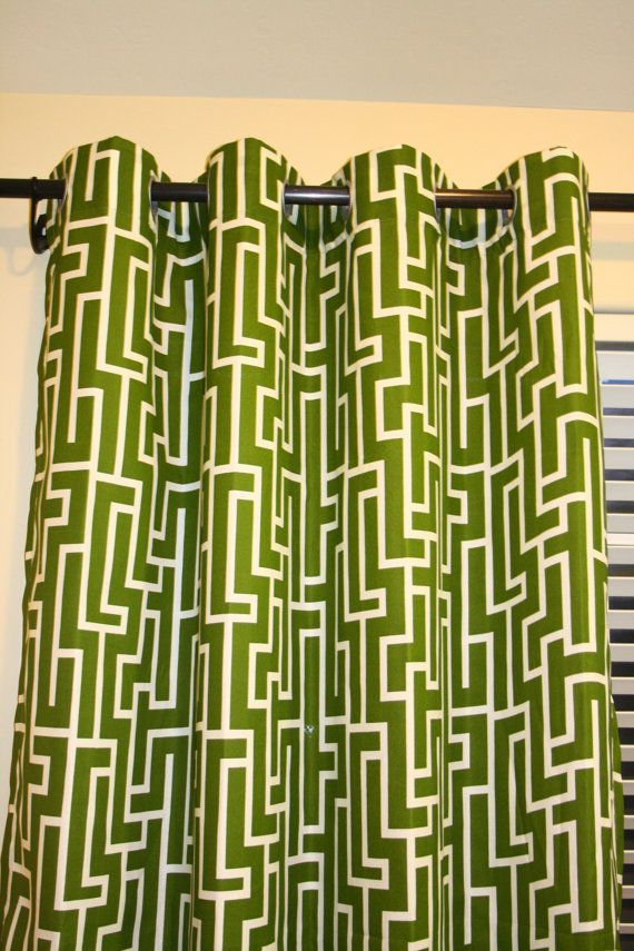 MODERN GEOMETRIC Olive Green Grommet Curtain 57x84 One Panel With Lining Modern Curtains