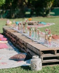 Pallets for summer dinner parties! I LOVE this idea  ...