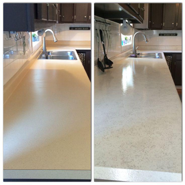 Painted my countertops with Rustoleum Countertop Coating Applied 2 coats of white rustoleum