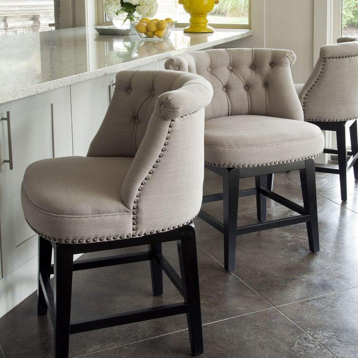 Sora Linen Swivel Barstool  IO Metro  Bar stools